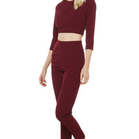 Impressions Tailored Pants - Burgundy