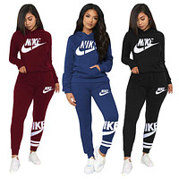 Nike new women's classic printed logo hoodie + trousers two-piece suit