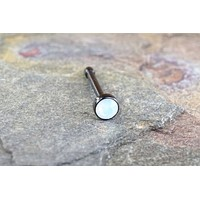 Black Nose Bone with 2mm White Opalite Gem