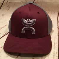 """Hooey Hat """"Olsen"""" Fitted S/M Flexfit Maroon/Grey Cool & Dry back 1551BUGY-01"""