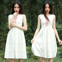 White Lace Trimmed Sleeveless Dress