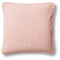 French Laundry Home, Ticking 20x20 Cotton-Blended Pillow, Red, Decorative Pillows