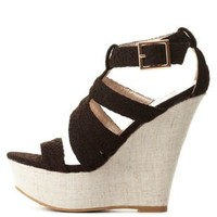 Black Qupid Textured Strappy Platform Wedges