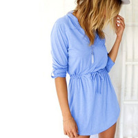 Light Blue V-Neck Sleeve Drawstring-Waist Dress
