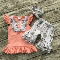 Summer baby girls outfits baby girls dream catcher clothing bib top ruffle shorts sets kids boutique clothes with headband