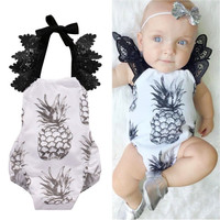 Pineapple Newborn Baby Girl Clothes Cute Infant Bebes Lace Bodysuit One-piece Sunsuit Outfit Clothing 0-18M