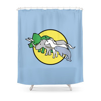 Society6 Horned Warrior Friends unicorn Narwhal Trice Shower Curtain