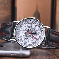 Compass Leather Watch + Gift Box
