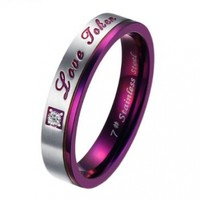 """JewelryWe Womens """"Love Token"""" Stainless Steel Ring Valentine Promise Engagement Wedding Band Silver Purple (Size 8)"""