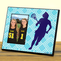 Personalized Photo Frame Girl Lacrosse Player Diamond Pattern   Lacrosse Photo Frames   Lacrosse Picture Displays