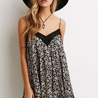 Lace-Trimmed Paisley Trapeze Dress