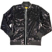 Prestige Full Black Sequin Bomber Jacket