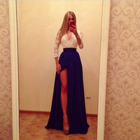 New Sexy Women Lace Maxi Dress Split Long Evening Cocktail Prom Formal Dresses