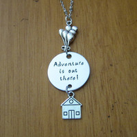 UP Inspired Necklace. Adventure is out there! House with balloons. Hand Stamped. Silver colored. Ellie & Carl. Adventure is out there!