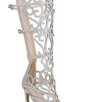SILVER GLITTER LOOK FLORAL CUT DESIGN BUCKLE STRAPS KNEE HIGH OPEN TOE HIGH HEEL BOOTS