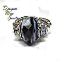 DWJ0242 Lovely Coffee and Cream Czech Glass Silver Wire Wrap Ring All Sizes
