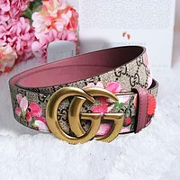 GUCCI Hot Sale Women Men Trending Design Retro Belt Snake Print Belt Snake Print Flower