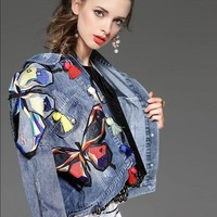 Trendy Women Autumn Blue Denim Jacket Colorful Butterly Featured Embroidery Woman Long Sleeve Jeans Coats Loose Outwear NZ67 AT_94_13