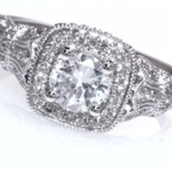 Vera Wang LOVE Collection 1-1/4 CT. T.W. Diamond Frame Vintage-Style Engagement Ring in 14K White Gold - View All Rings - Zales