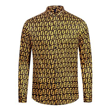 FENDI Fashion Men Casual F Letter Long Sleeve Lapel Shirt Top Yellow