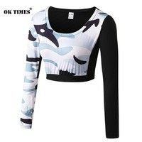 #5015 Women Camouflage Workout Fitness Gym Yoga Long Sleeve Sports Tops Thermal Running  High Waisted Crop Top T-shirt S~XL