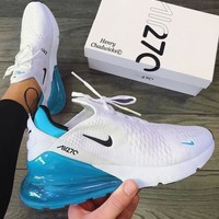 Nike Air Max 270 Newest Popular Women Men Casual Air Cushion Shoes Sneakers White&Blue