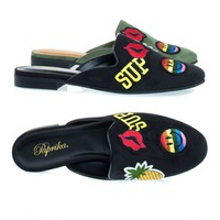 Zayn Black By Paprika, Low Chunky Block Heel Mule w Emoji Embroidered Patches w Pineapple & Smile