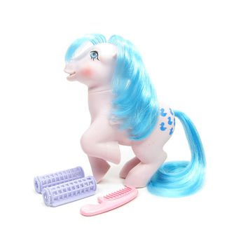 Sprinkles Pegasus Waterfall Play Set Pony Vintage G1 My Little Pony Toy with Curlers, Comb