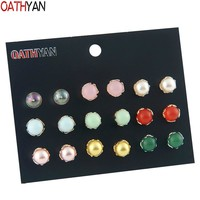 OATHYAN 9 Pairs/Set Cute Ball Acrylic Stud Earrings Set Mix For Women Simulated Pearl Earring Female Kids Jewelry Gift Brincos