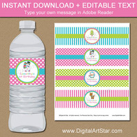 Christmas Birthday Water Bottle Labels - Girl Birthday Decor - Girl Christmas Labels - Christmas Printable - Holiday Birthday Decor C1