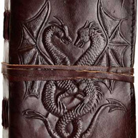 Double Dragon Leather Blank Journal w/ cord