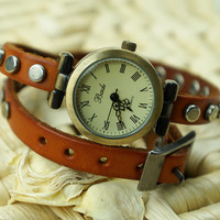 Brown Leather Double Wraps Around Watch