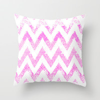 sparkly pink chevron Throw Pillow by Marianna Tankelevich
