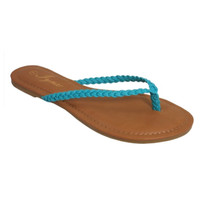 Forever Faithful Braided Classic Strap Teal Flip Flops, Sandals