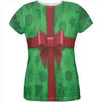 Green Christmas Present Costume All Over Womens T Shirt