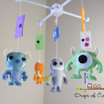 Baby Mobile - Baby Crib Mobile - Nursery Monsters Inc Mobile - Monsters and Doors - Boo, Sully, Mike