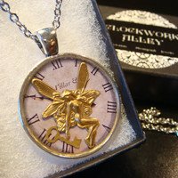 Fairy with Key Clock Steampunk Pendant Necklace (1966)