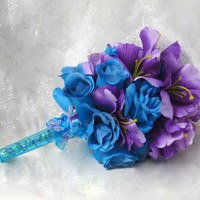 Silk Wedding Bouquet - Purple And Turquoise Wedding Bouquet - Butterfly Wedding - Bridal Bouquet - Silk Wedding Bouquet - Fabric Bouquet