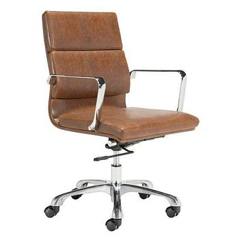 """Ergonomic Office Chair - 22"""" X 28"""" X 17"""" Brown Vintage Office Chair"""