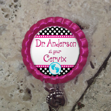 Personalized OB Nurse At Your Cervix Retractable ID Badge Reel with Charm, Badge ID Reel, Nurse Badge Reel, Bottlecap Badge Reel