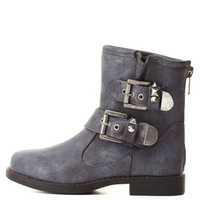 Dollhouse Studded Shimmer Moto Boots by Charlotte Russe - Black