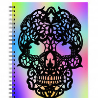 Sugar Skull Notebook - Spiral Notebook - Skull Sketchbook - Papercut Illustration - A5 notebook - Dia de los Muertos - Day of the Dead