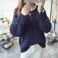 All-match Fashion Loose Knit Sweater