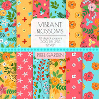 Yellow, Turquoise Floral Digital Paper. Peony, Rose Blossom Coral, Blue, Mint, Orange Cottage Chic Patterns. Hand Drawn Flower Background