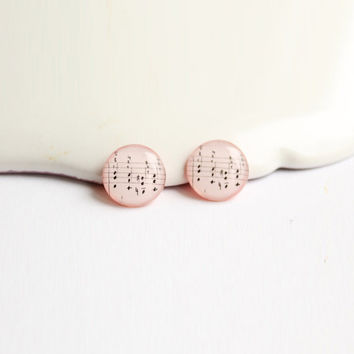 12,5 mm small studs, music stud earrings, musical notes studs, musical studs, pale pink stud earrings, earrings for musicians, romantic