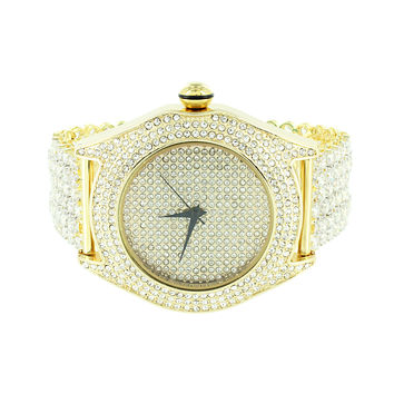 Mens Gold Finish Watch Fully Iced Out Bling Joe Rodeo Jojo Jojino
