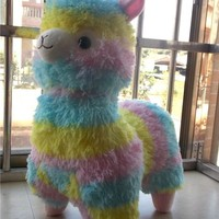 Huge New Amuse Rainbow Arpakasso Alpacasso Colourful Alpaca Plush Toy Gift 20""