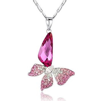 Butterfly Wing Drop Swarovski Elements Crystal Pendant Necklace - Pink