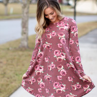 Fighting For Floral Dress - Mauve