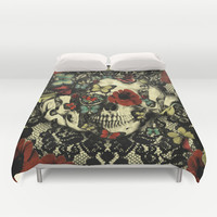 Vintage Gothic Lace Skull Duvet Cover by Kristy Patterson Design